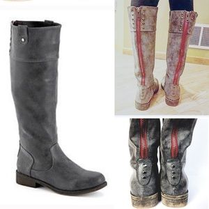 Madden Girl Grey Studded Riding Boots